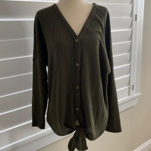 Iwollence hunter green button up thermal sz S